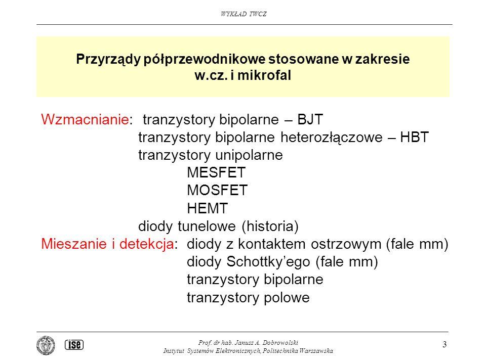 Przyrządy półprzewodnikowe stosowane w zakresie w.cz. i mikrofal