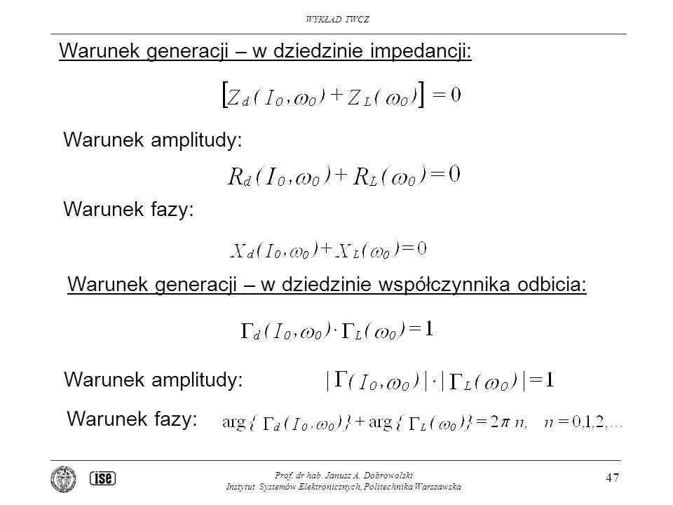 Warunek generacji – w dziedzinie impedancji: