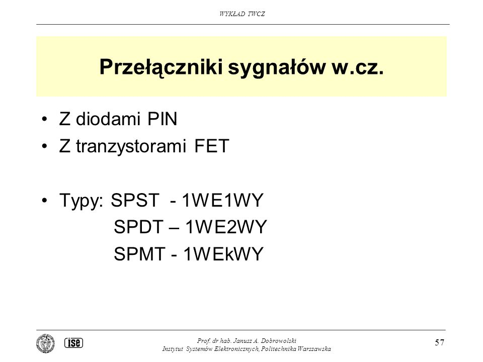 Przełączniki sygnałów w.cz.