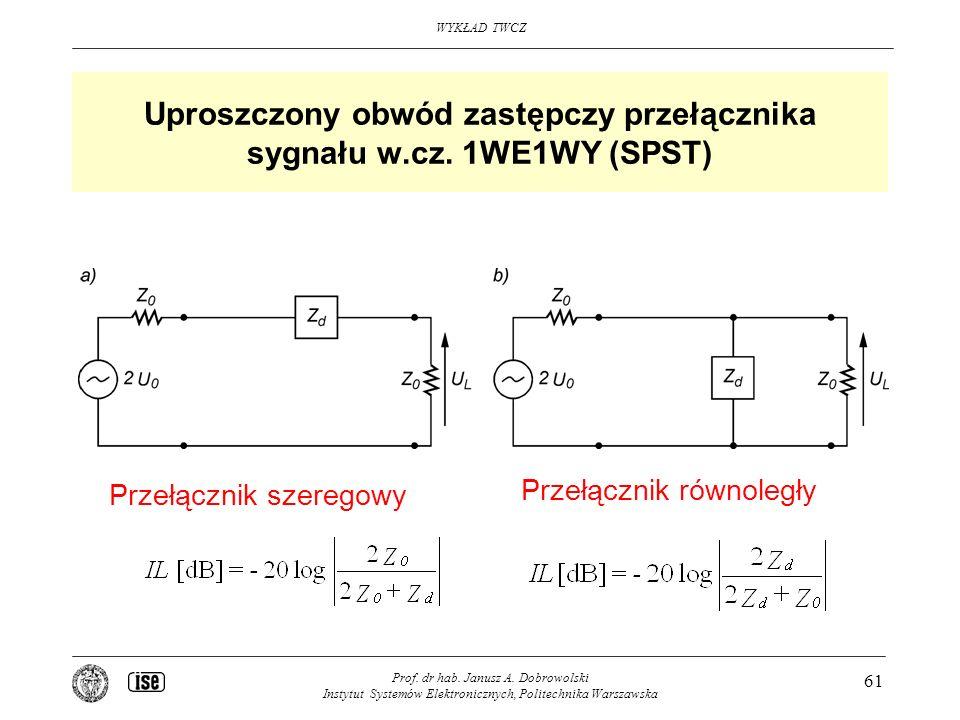 Uproszczony obwód zastępczy przełącznika sygnału w.cz. 1WE1WY (SPST)