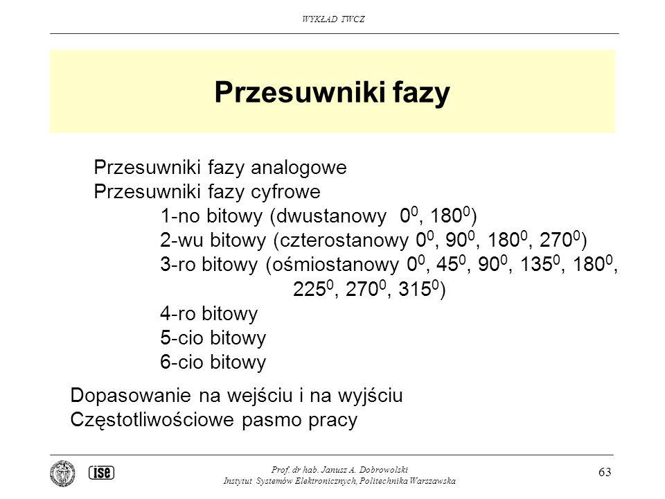 Przesuwniki fazy Przesuwniki fazy analogowe Przesuwniki fazy cyfrowe