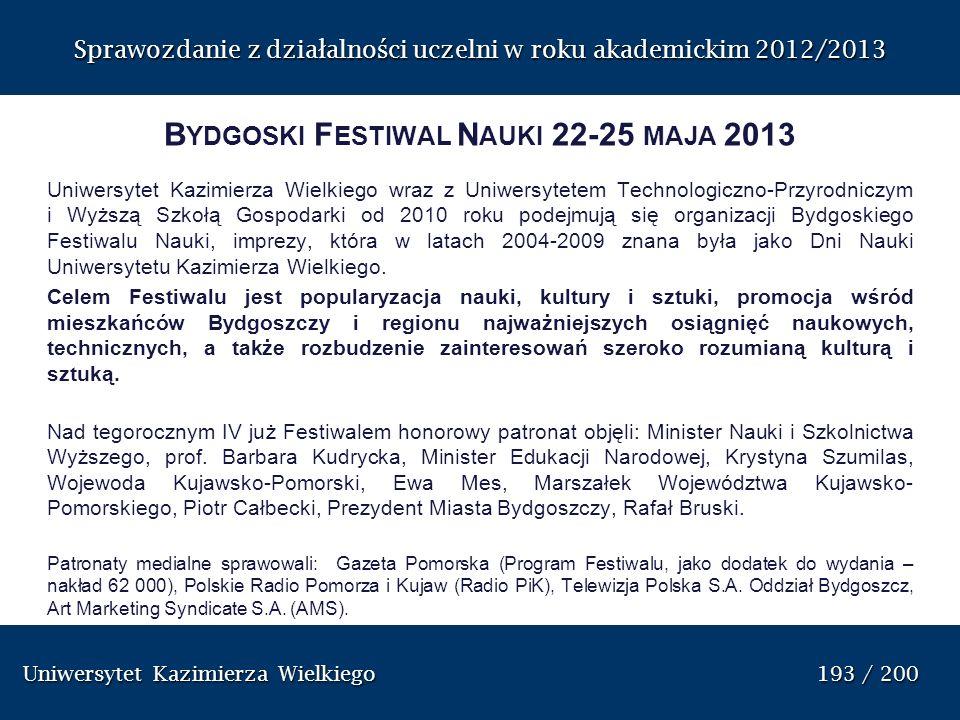 Bydgoski Festiwal Nauki 22-25 maja 2013