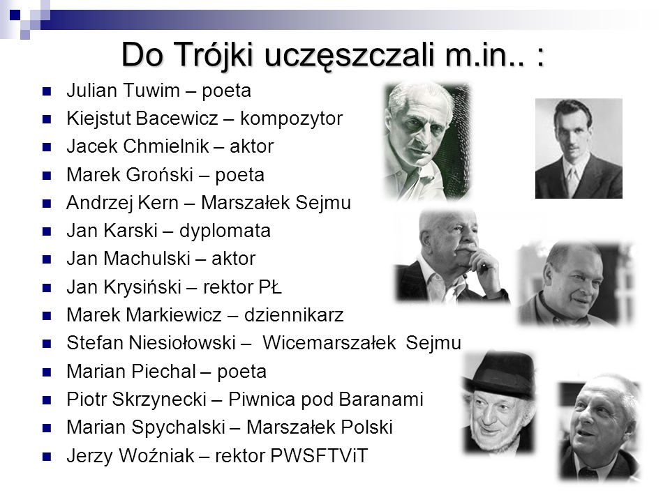 Do Trójki uczęszczali m.in.. :