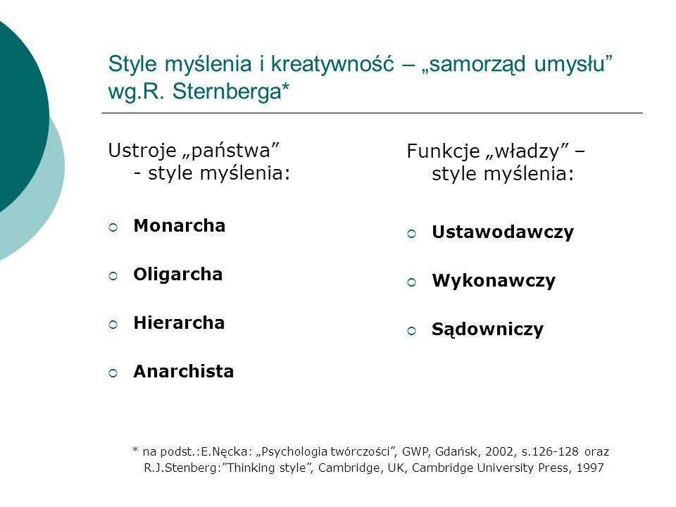 """Style myślenia i kreatywność – """"samorząd umysłu wg.R. Sternberga*"""