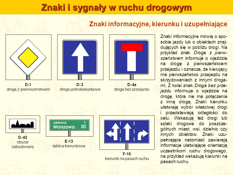 Znaki informacyjne, kierunku i uzupełniające