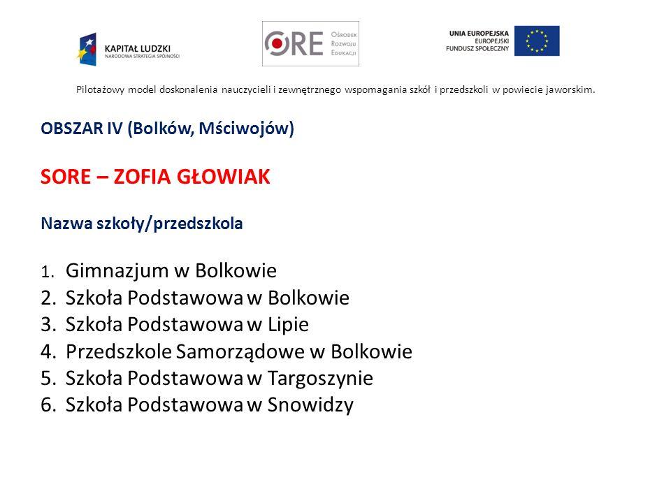 SORE – ZOFIA GŁOWIAK 2. Szkoła Podstawowa w Bolkowie