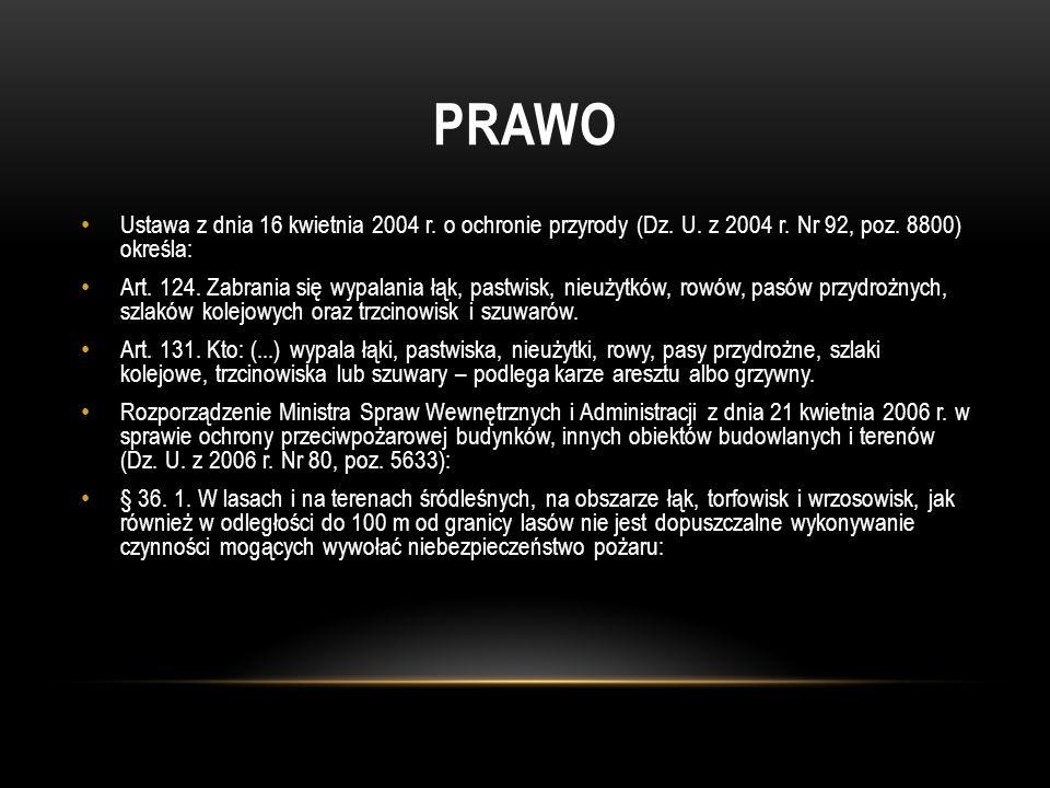PRAWO Ustawa z dnia 16 kwietnia 2004 r. o ochronie przyrody (Dz. U. z 2004 r. Nr 92, poz. 8800) określa: