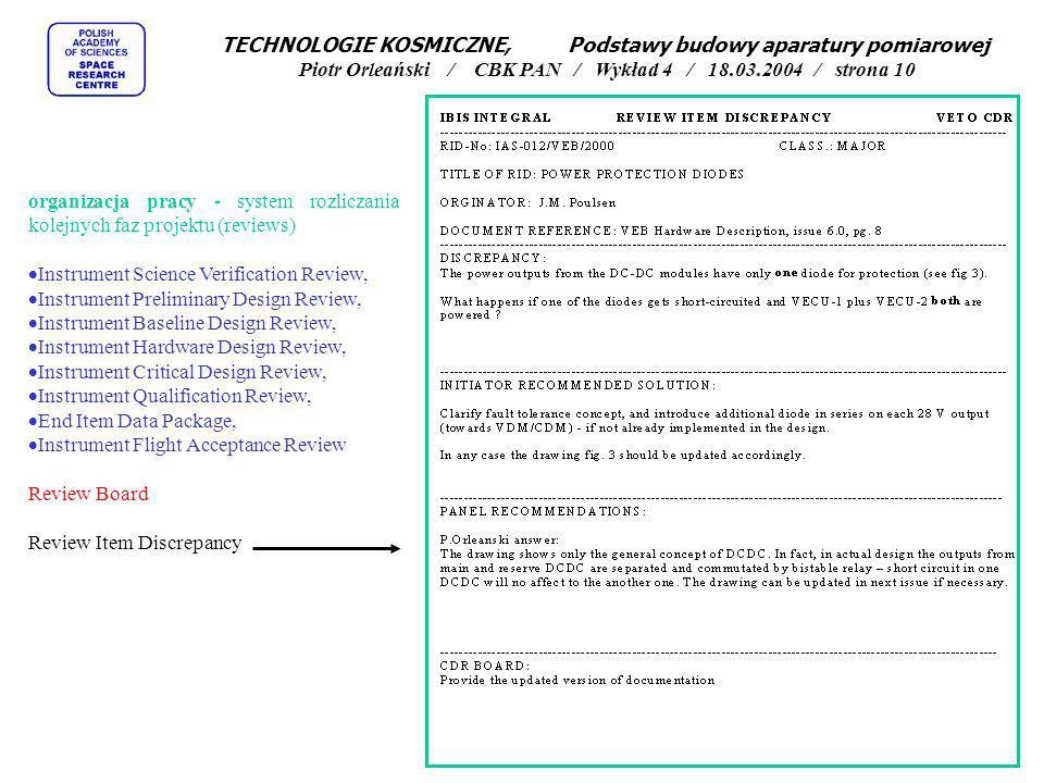TECHNOLOGIE KOSMICZNE, Podstawy budowy aparatury pomiarowej Piotr Orleański / CBK PAN / Wykład 4 / 18.03.2004 / strona 10