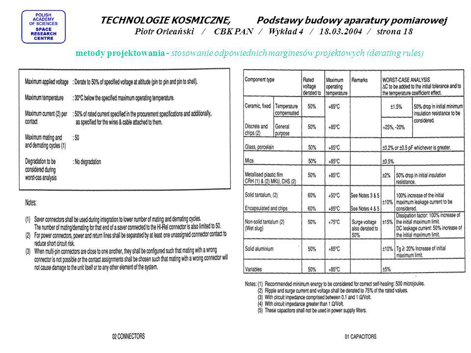 TECHNOLOGIE KOSMICZNE, Podstawy budowy aparatury pomiarowej Piotr Orleański / CBK PAN / Wykład 4 / 18.03.2004 / strona 18