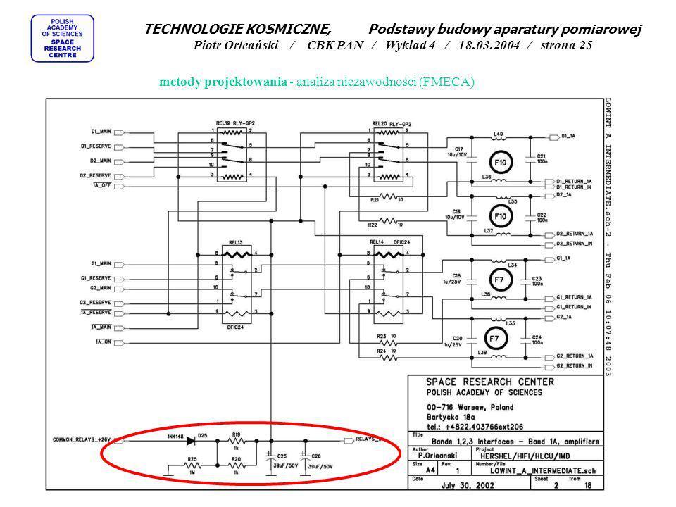 TECHNOLOGIE KOSMICZNE, Podstawy budowy aparatury pomiarowej Piotr Orleański / CBK PAN / Wykład 4 / 18.03.2004 / strona 25