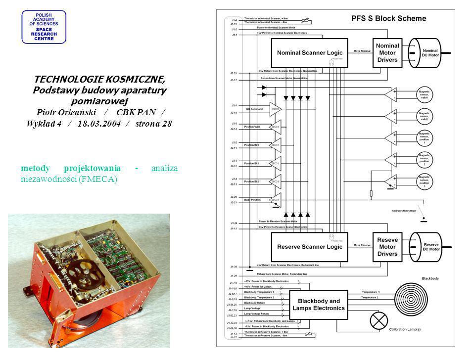 TECHNOLOGIE KOSMICZNE, Podstawy budowy aparatury pomiarowej Piotr Orleański / CBK PAN / Wykład 4 / 18.03.2004 / strona 28