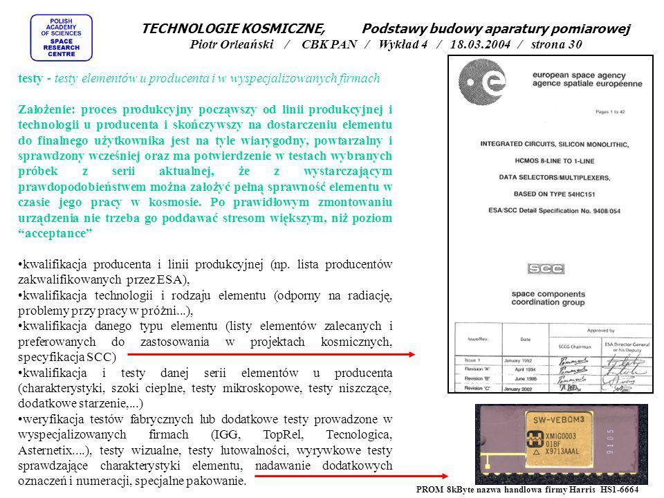 testy - testy elementów u producenta i w wyspecjalizowanych firmach