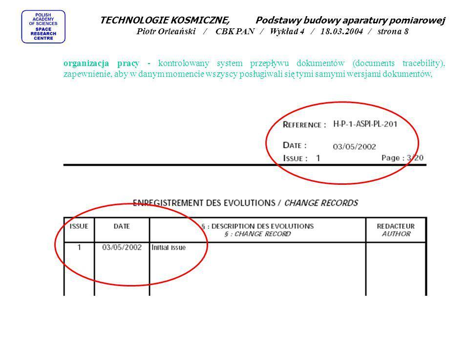 TECHNOLOGIE KOSMICZNE, Podstawy budowy aparatury pomiarowej Piotr Orleański / CBK PAN / Wykład 4 / 18.03.2004 / strona 8