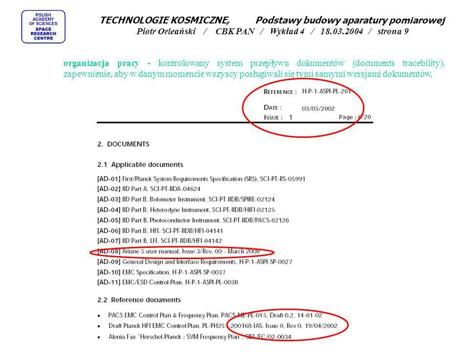 TECHNOLOGIE KOSMICZNE, Podstawy budowy aparatury pomiarowej Piotr Orleański / CBK PAN / Wykład 4 / 18.03.2004 / strona 9