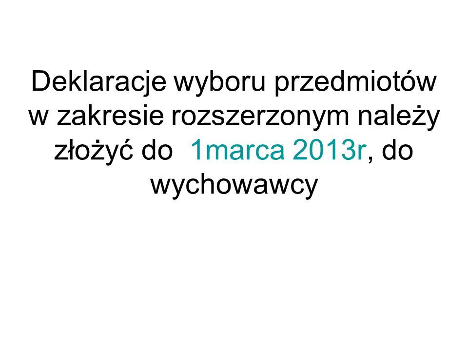 Deklaracje wyboru przedmiotów w zakresie rozszerzonym należy złożyć do 1marca 2013r, do wychowawcy
