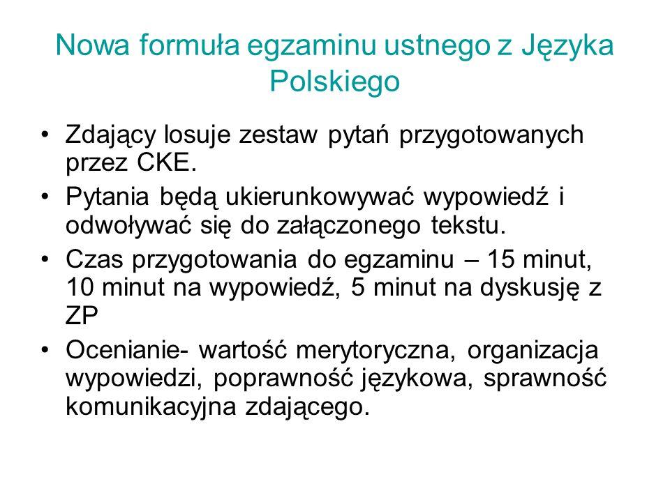 Nowa formuła egzaminu ustnego z Języka Polskiego