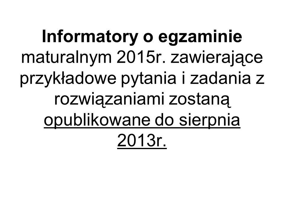 Informatory o egzaminie maturalnym 2015r