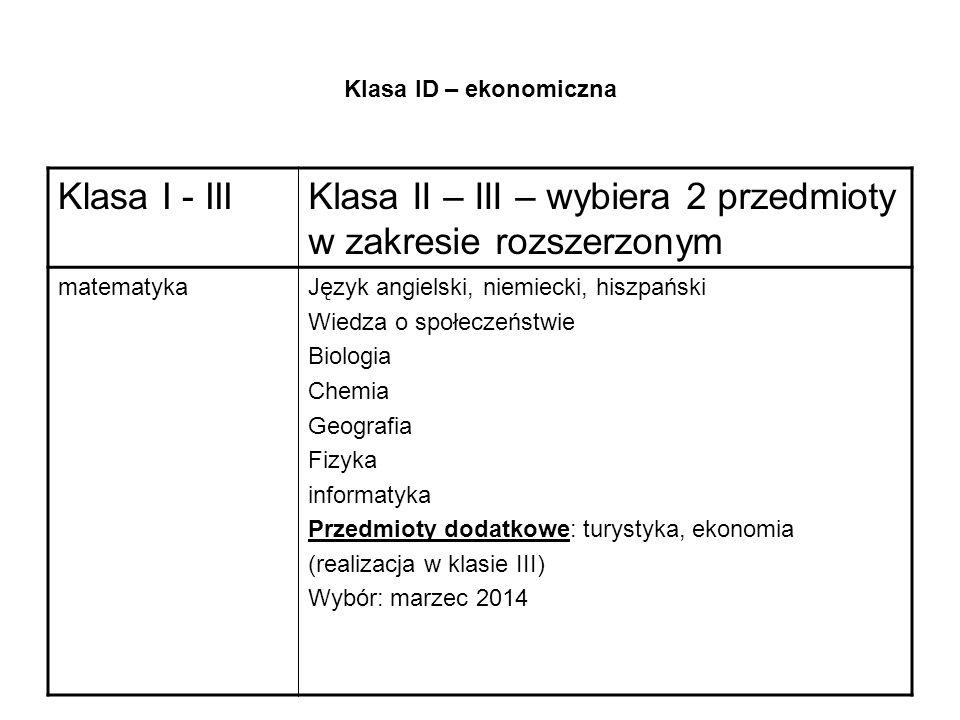 Klasa II – III – wybiera 2 przedmioty w zakresie rozszerzonym