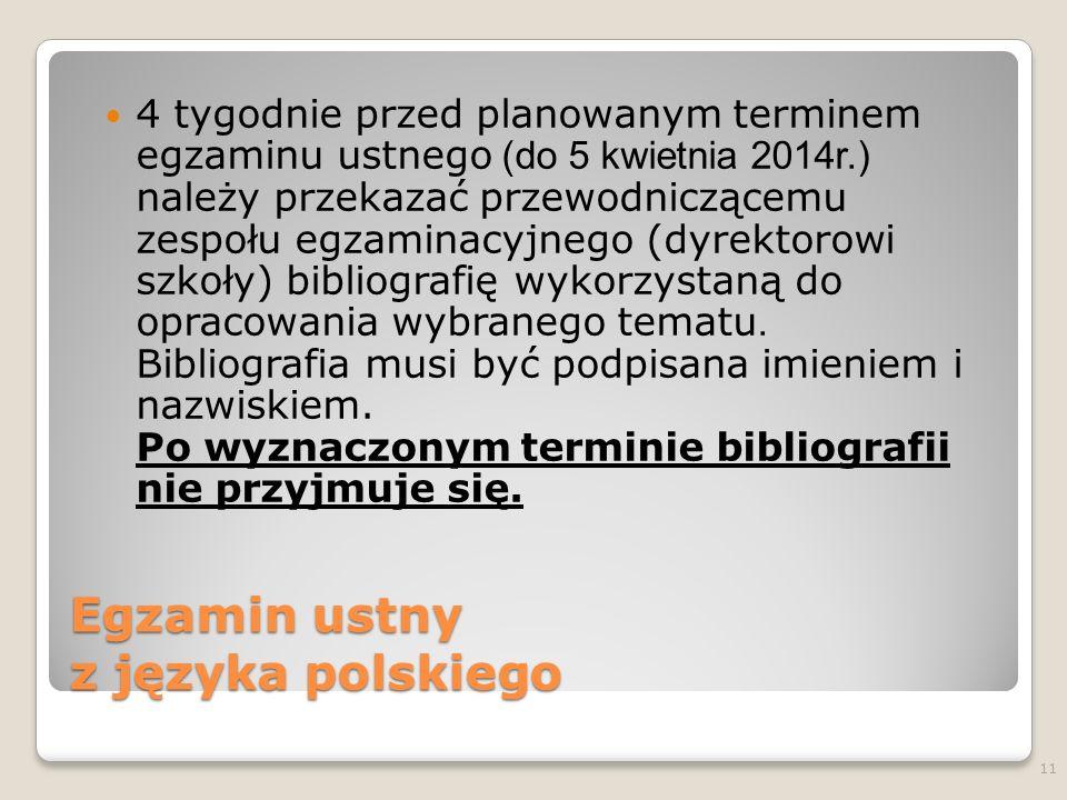 Egzamin ustny z języka polskiego