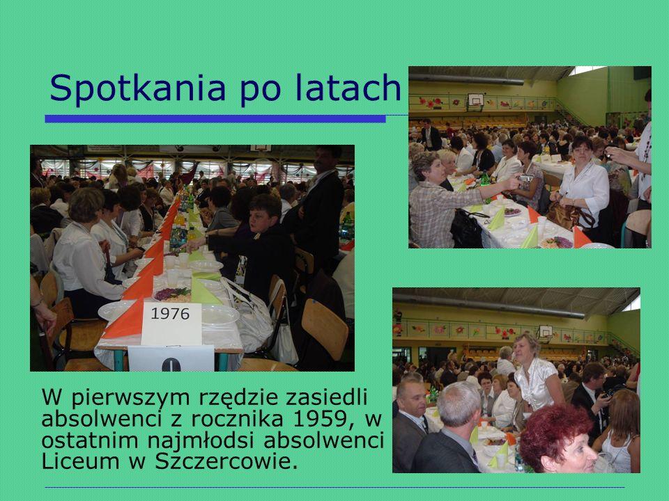 Spotkania po latach W pierwszym rzędzie zasiedli absolwenci z rocznika 1959, w ostatnim najmłodsi absolwenci Liceum w Szczercowie.
