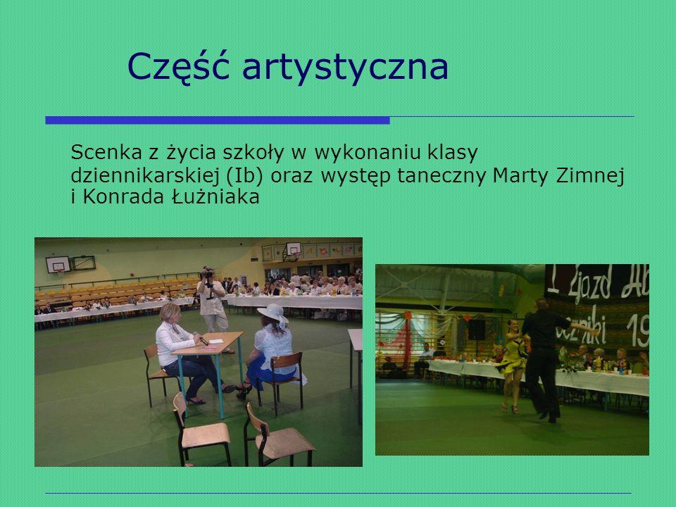 Część artystyczna Scenka z życia szkoły w wykonaniu klasy dziennikarskiej (Ib) oraz występ taneczny Marty Zimnej i Konrada Łużniaka.