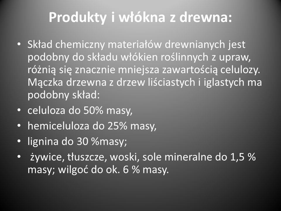 Produkty i włókna z drewna: