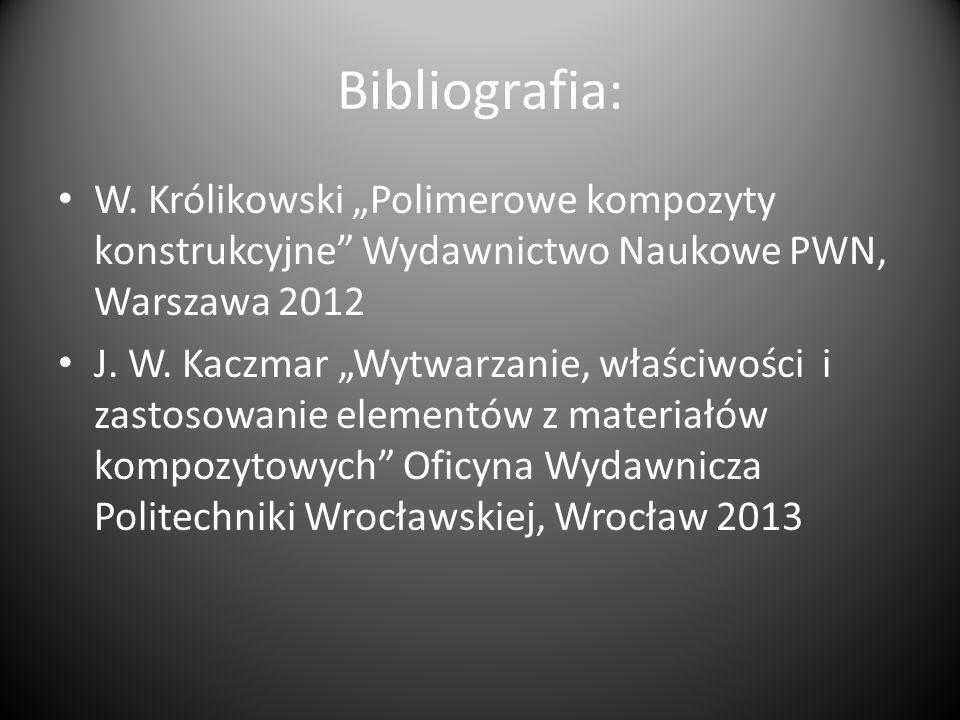 """Bibliografia: W. Królikowski """"Polimerowe kompozyty konstrukcyjne Wydawnictwo Naukowe PWN, Warszawa 2012."""