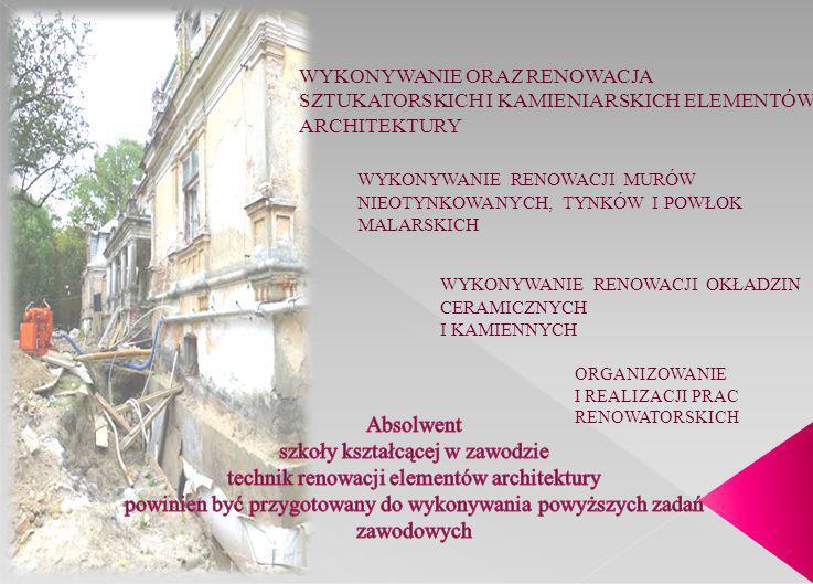 WYKONYWANIE ORAZ RENOWACJA SZTUKATORSKICH I KAMIENIARSKICH ELEMENTÓW ARCHITEKTURY