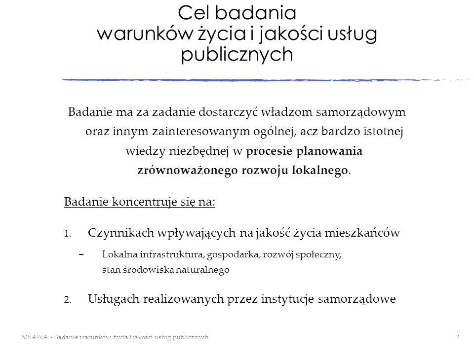Cel badania warunków życia i jakości usług publicznych