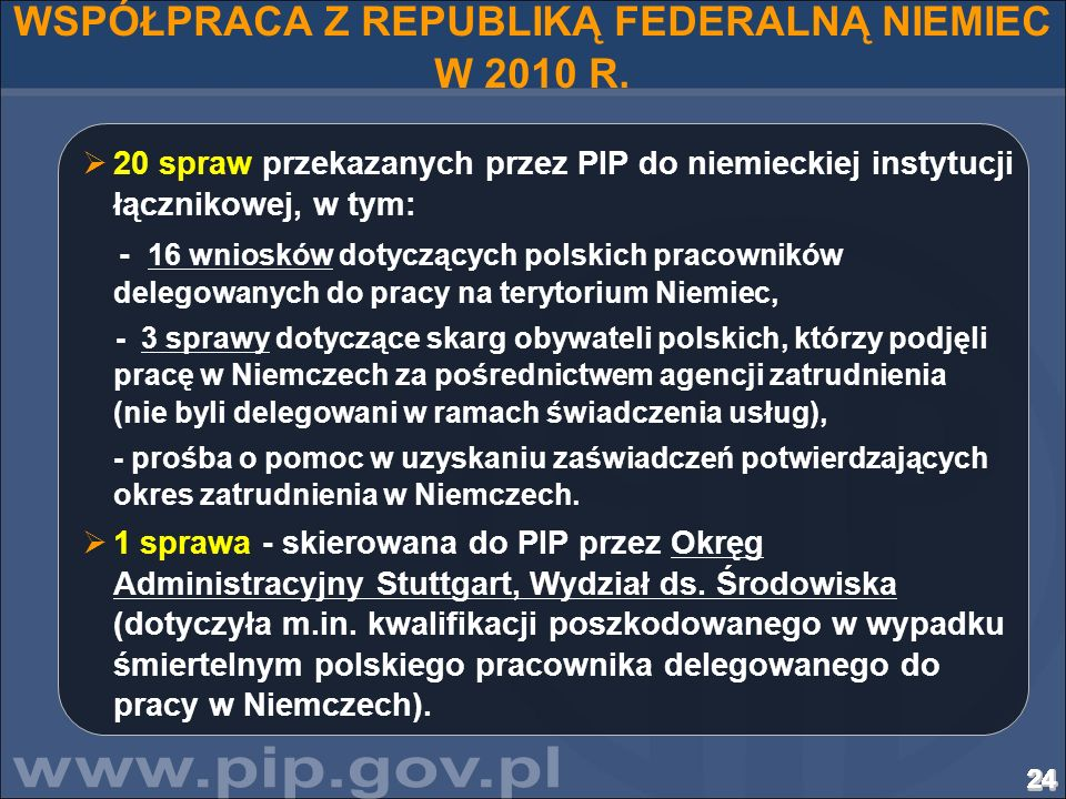 WSPÓŁPRACA Z REPUBLIKĄ FEDERALNĄ NIEMIEC W 2010 R.
