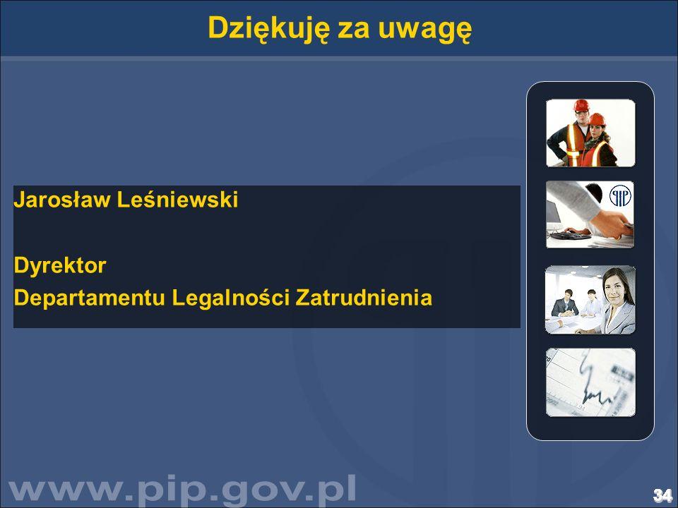 Dziękuję za uwagę Jarosław Leśniewski Dyrektor