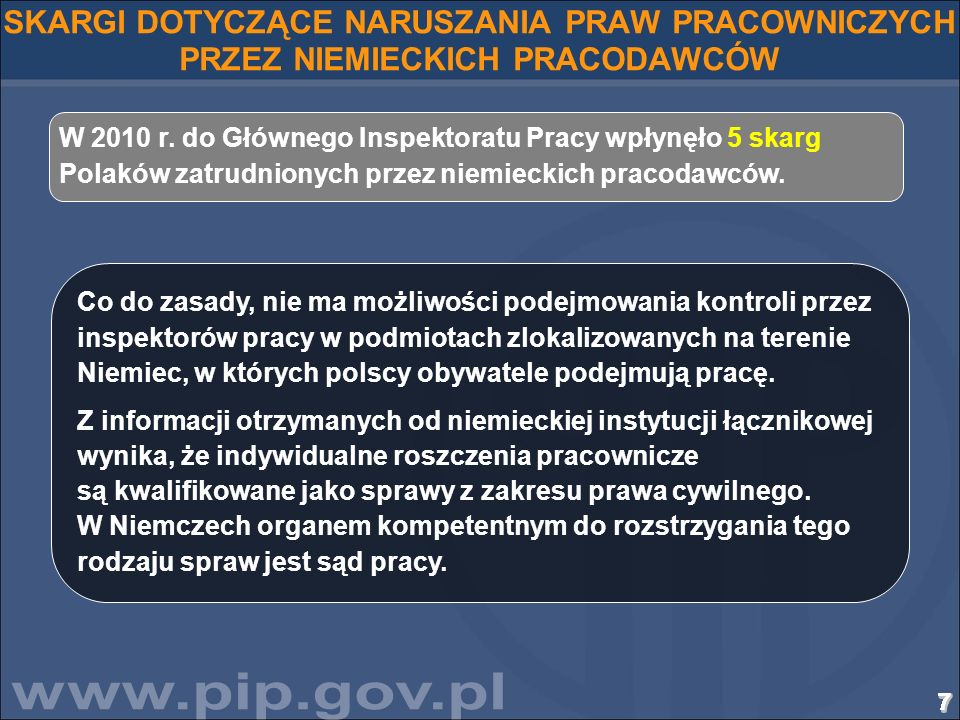 SKARGI DOTYCZĄCE NARUSZANIA PRAW PRACOWNICZYCH PRZEZ NIEMIECKICH PRACODAWCÓW
