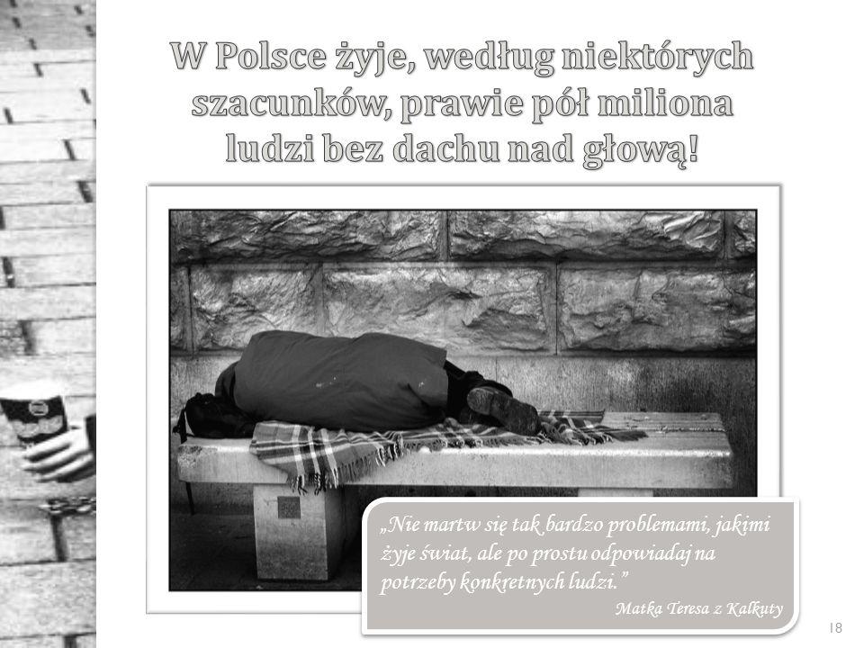 W Polsce żyje, według niektórych szacunków, prawie pół miliona ludzi bez dachu nad głową!