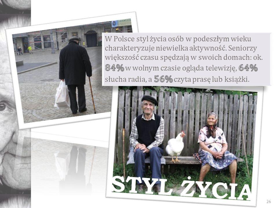 W Polsce styl życia osób w podeszłym wieku charakteryzuje niewielka aktywność. Seniorzy większość czasu spędzają w swoich domach: ok. 84% w wolnym czasie ogląda telewizję, 64% słucha radia, a 56% czyta prasę lub książki.