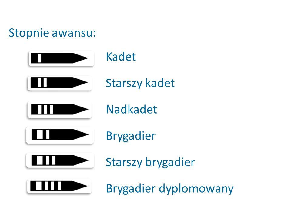 Stopnie awansu: Kadet Starszy kadet Nadkadet Brygadier Starszy brygadier Brygadier dyplomowany