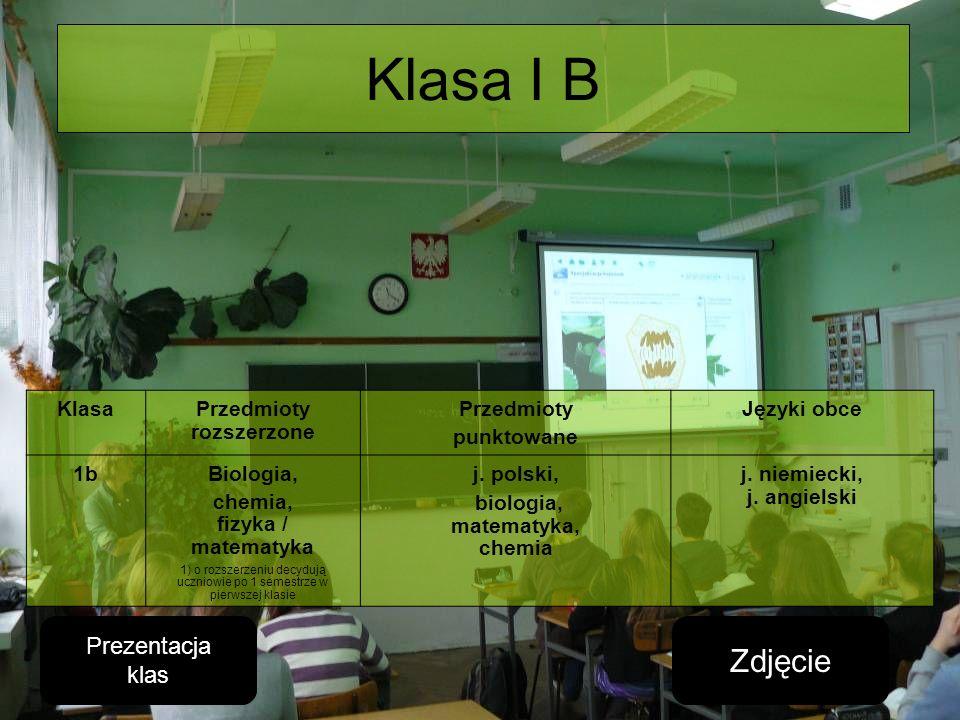Klasa I B Zdjęcie Prezentacja klas Klasa Przedmioty rozszerzone