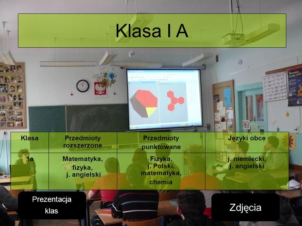Klasa I A Zdjęcia Prezentacja klas Klasa Przedmioty rozszerzone