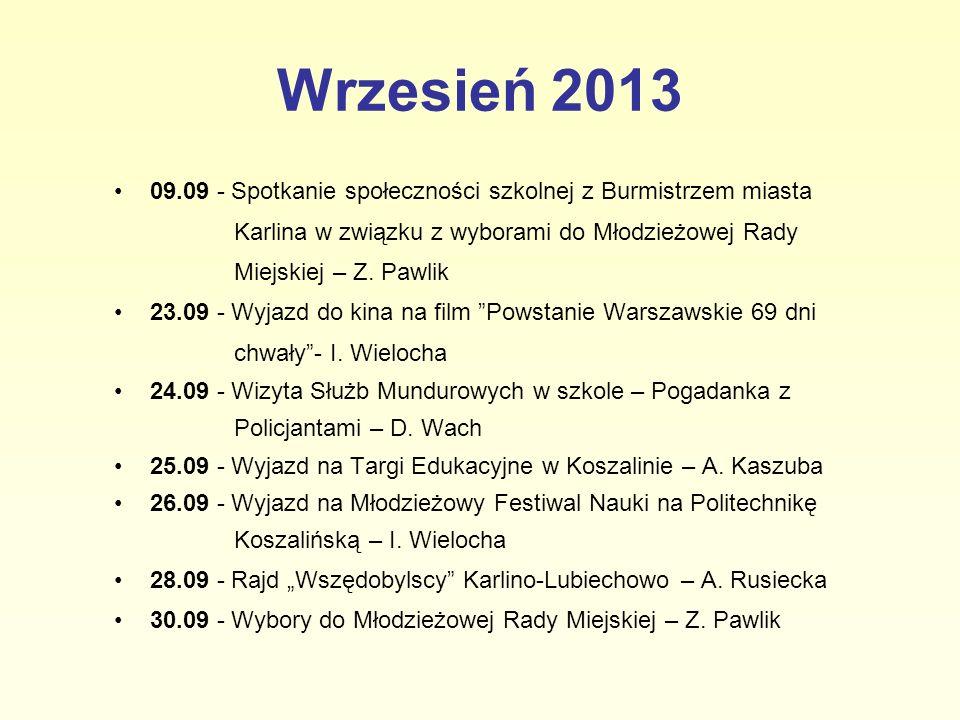 Wrzesień 2013 09.09 - Spotkanie społeczności szkolnej z Burmistrzem miasta. Karlina w związku z wyborami do Młodzieżowej Rady.