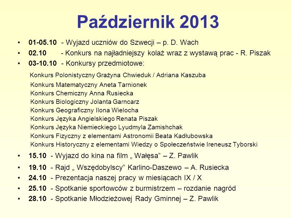 Październik 2013 01-05.10 - Wyjazd uczniów do Szwecji – p. D. Wach