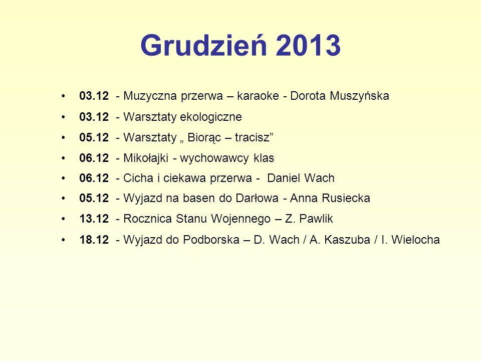 Grudzień 2013 03.12 - Muzyczna przerwa – karaoke - Dorota Muszyńska