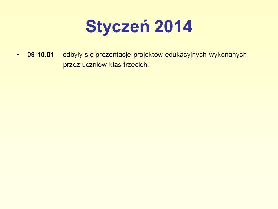 Styczeń 2014 09-10.01 - odbyły się prezentacje projektów edukacyjnych wykonanych.