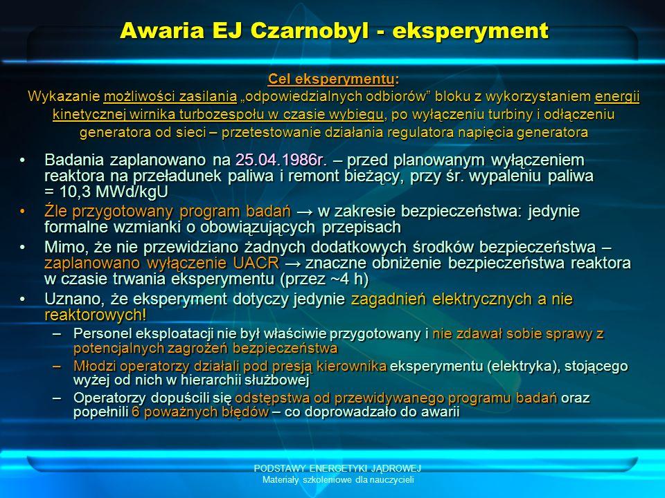 Awaria EJ Czarnobyl - eksperyment