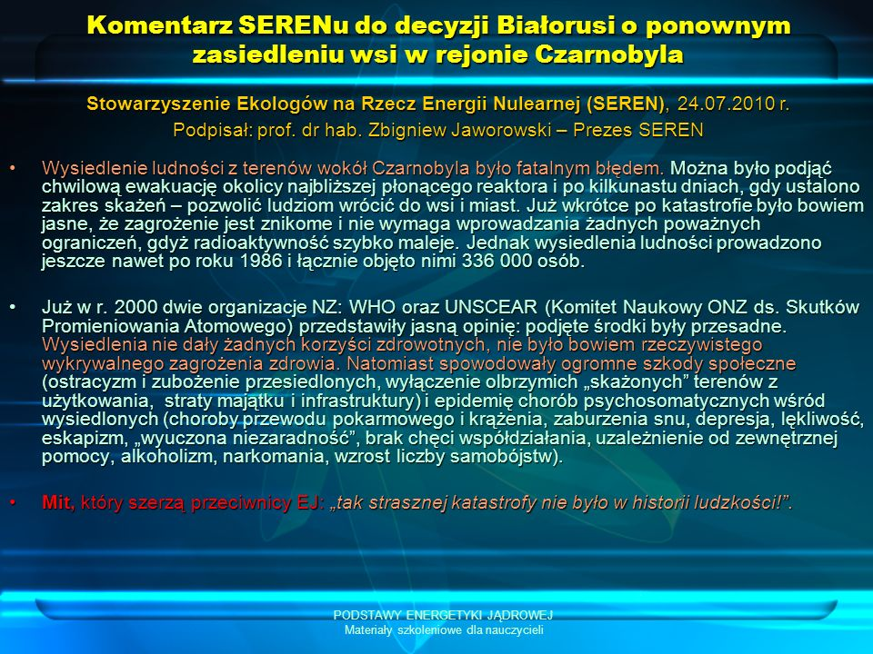 Komentarz SERENu do decyzji Białorusi o ponownym zasiedleniu wsi w rejonie Czarnobyla