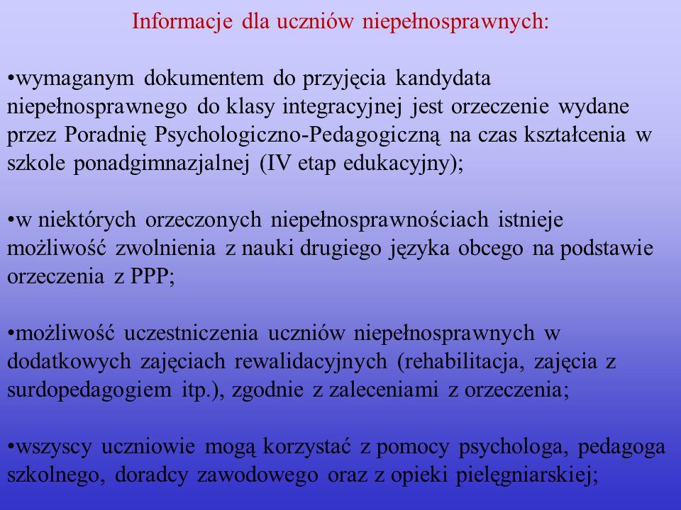Informacje dla uczniów niepełnosprawnych: