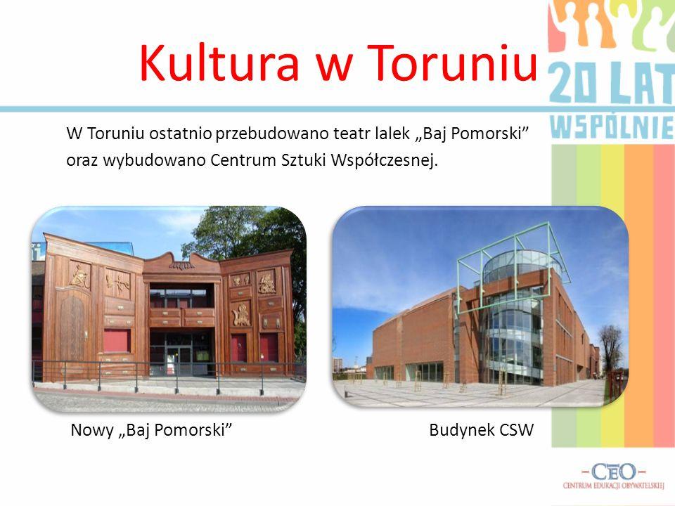 """Kultura w Toruniu W Toruniu ostatnio przebudowano teatr lalek """"Baj Pomorski oraz wybudowano Centrum Sztuki Współczesnej."""