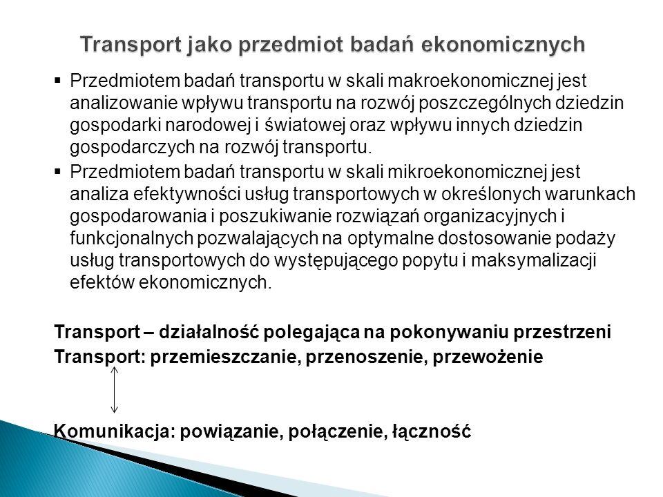 Transport jako przedmiot badań ekonomicznych