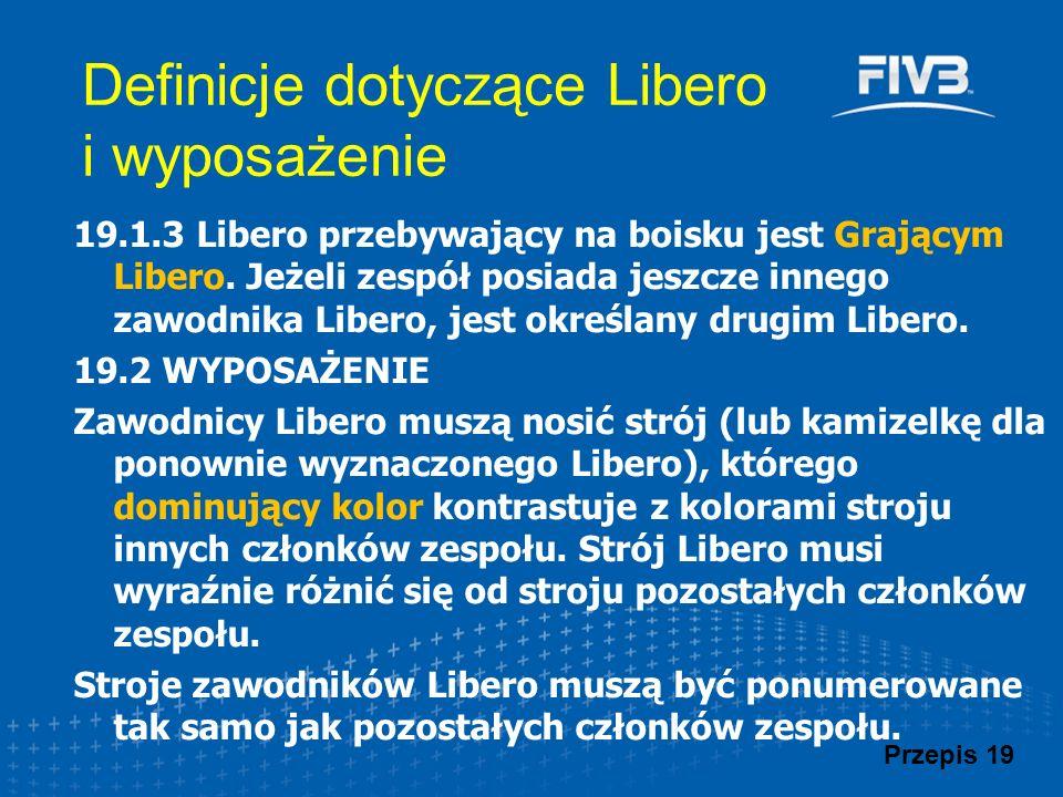 Definicje dotyczące Libero i wyposażenie