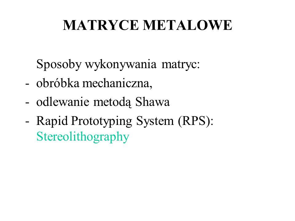 MATRYCE METALOWE Sposoby wykonywania matryc: obróbka mechaniczna,