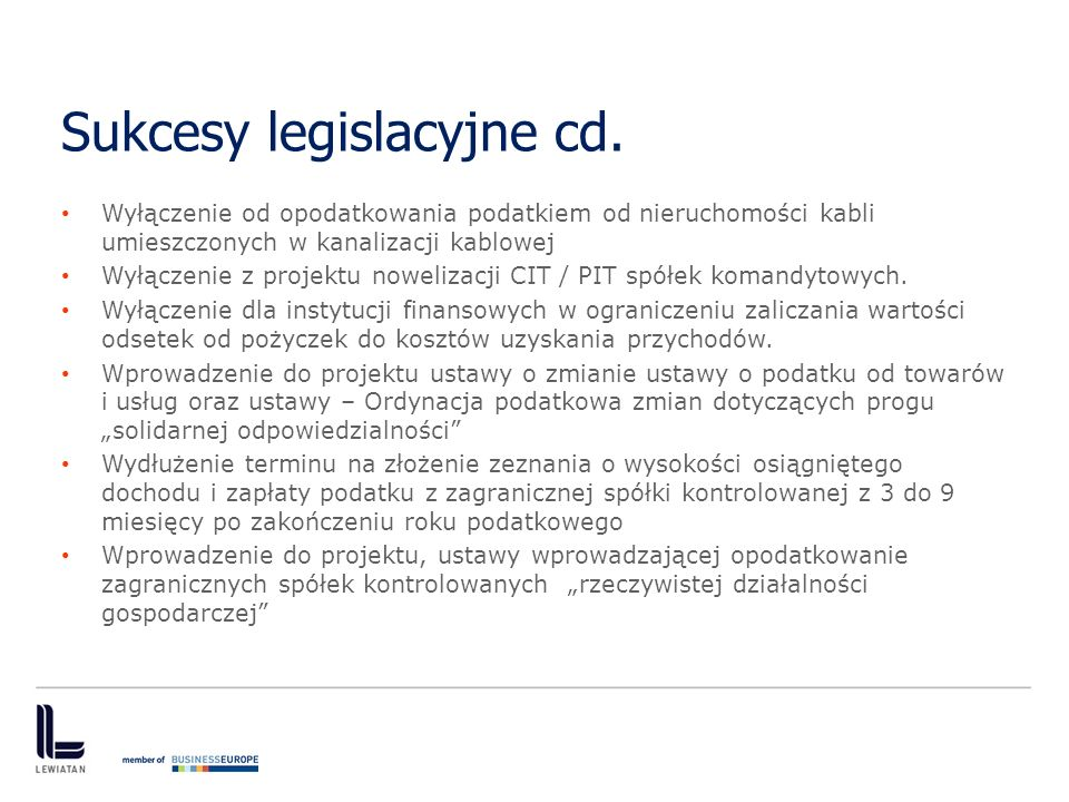Sukcesy legislacyjne cd.