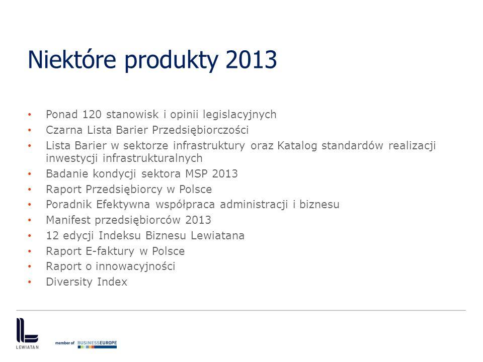 Niektóre produkty 2013 Ponad 120 stanowisk i opinii legislacyjnych